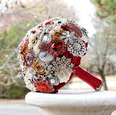 Ruby Red and Gold Wedding Brooch Bouquet. Deposit by annasinclair