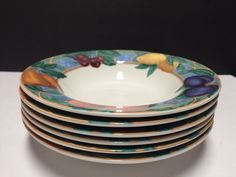 "Set 6 Casual Victoria & Beale FORBIDDEN FRUIT 9024 Rimmed 8-5/8"" Soup Bowls  | eBay"
