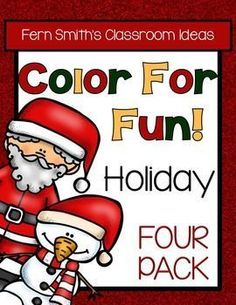 Color For Fun Holiday Four Pack of Printable Coloring Pages {203 coloring pages equals less than 8 cents a page.} ♦ This convenience bundle contains the following FOUR resources: 1. Christmas  2. Hanukkah 3. Thanksgiving and 4. Halloween #TPT  #Christmas #Thanksgiving #Halloween #Hanukkah #ColorForFun  $Paid #FernSmithsClassroomIdeas