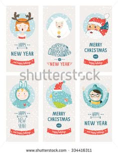 Vector Christmas cards collection, with santa claus, cute bird, sheep, kids and lettering. Illustration Merry christmas and Happy new year with snowflakes background
