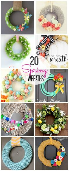 20 diy wreath ideas. These are adorable wreaths in all different styles. Easy DIY project for the front door and you can pick your favorite color and style. Wreaths with flowers, bunnies, butterflies, bows, burlap, yarn, and so much more.