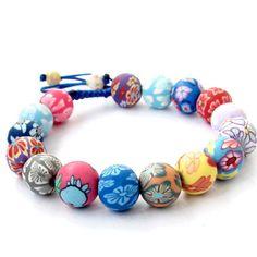 Fimo Polymer Clay Flower Beads Adjustable Bracelet