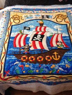 Pirate quilt not bonded yet for my grandson