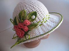 Hat Brim in White with Roses Crochet Girl Women by ninellfux,