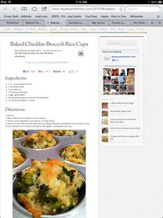 Baked Cheddar Broccoli Rice Cups Recipe
