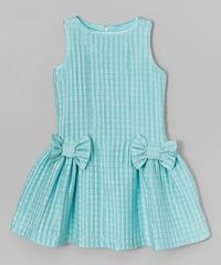 Look at this ValMax Aqua Check Bow Dress - Girls on #zulily today!