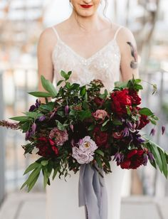 Winter beach wedding inspiration in frost blue and cranberry with natural bohemian floral design and organic greenery garlands with a pastel wedding dress! Pastel Wedding Dresses, Fall Wedding Flowers, Purple Wedding, Floral Wedding, Wedding Colors, Dream Wedding, Wedding Black, Bridesmaid Bouquet, Wedding Bouquets