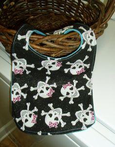 Baby Bib  Pink Skulls Baby Bib  Rocker Baby by BrennysBibbies on etsy.com