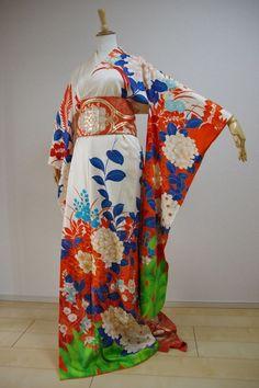Kimono Dress Japan Furisode Kimono costume Vintage dress Obi Belt set KDJM-F0040