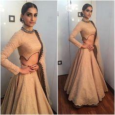 "Sonam Kapoor in Shantanu Nikhil for ""Prem Ratan Dhan Payo"" Movie Promotions on Big Boss Show Choli Designs, Lehenga Designs, Blouse Neck Designs, Indian Lehenga, Kids Lehenga, Indian Wedding Outfits, Indian Outfits, Indian Weddings, Pakistani Dresses"