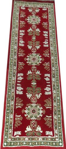 Pair of 3x14 Red Long Runner Hand Tufted