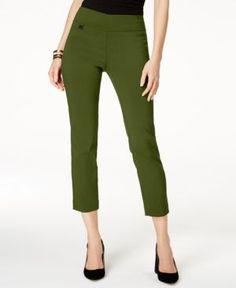 Alfani Petite Tummy-Control Pull-On Capri Pants, Created for Macy's - Green 14P
