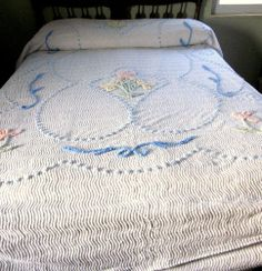 Chenille Summer Bedspread Pastel Blue Pink Green Cutter or Repair Vintage