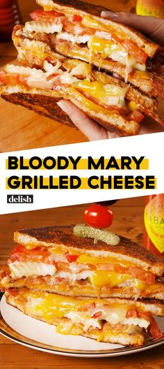 Bloody Mary Grilled Cheese = Heaven Sent Hangover CureDelish (I'll try this without bacon, on Jan, US Bloody Mary Day. Grill Sandwich, Roast Beef Sandwich, Soup And Sandwich, Grill Cheese Sandwich Recipes, Sandwich Ideas, Tea Sandwiches, Gourmet Sandwiches, Healthy Sandwiches, Bo Bun