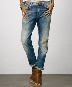 Denim & Supply Ralph Lauren Distressed Boyfriend Jeans, Oceanside Wash