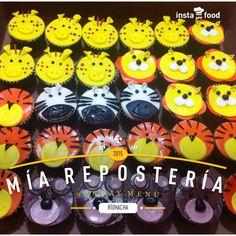 Cupcakes animalitos de la selva en fondant