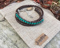 To wrap, adjustable with chain. Pierre Turquoise, Washer Necklace, Boho, Vintage, Bracelets, Etsy, Jewelry, Fashion, Brown Leather
