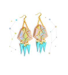 Diamond Spike Leather Earrings Peach and Yellow Ombre, Geometric Jewelry 8.jpg