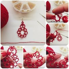 Creating DIY Fashion Trends – Designer Fashion Tips Tatting Earrings, Tatting Jewelry, Tatting Lace, Crochet Earrings, Needle Tatting Tutorial, Red Earrings, Tatting Patterns, Needle Lace, Lace Making