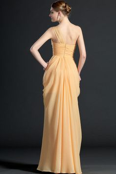 osell wholesale dropship Chiffon Pleated Beading One Shoulder Sleeveless Floor Length A Line Evening Prom Dresses $84.18