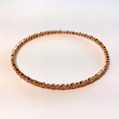 14K Rose Gold Bangle with Bezel Set Diamonds