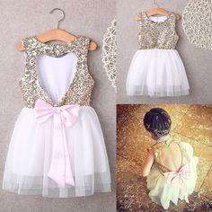 3 10Y crianças menina vestido de lantejoulas vestido de festa de amor Backless…