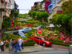 """The World's Crookedest Street""    Lombard Street, San Francisco, California."