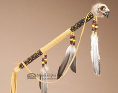 A beaded Creek Indian hawk skull medicine stick will make an exceptional unique accent in your native style home decor. Native American Decor, Native American Regalia, Native American Artifacts, Native Style, Native Art, Shaman Ritual, Spirit Sticks, Apache Indian, Bone Crafts