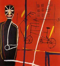 Jean Michel Basquiat Pedestrian 1 by acrylic, oil stick/canvas 1984 Jean Michel Basquiat Art, Jm Basquiat, Jasper Johns, Pop Art, Jackson Pollock, Sgraffito, Keith Haring, Josef Albers, Basquiat Paintings