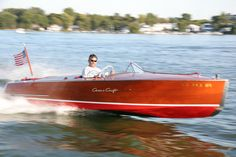 Mitch LaPointe in a Chris Craft 19' Racing Runabout on Lake Minnetonka