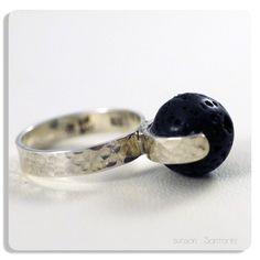 Santorini Hammered Sterling Silver Lava Rock Ring @sunsan #ring #handmade #lava #black #gifts #Santorini #Greece @GreekMythos