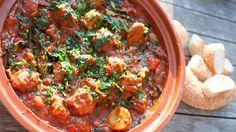 Marokkaanse gehaktballetjes met spinazie in tomatensaus