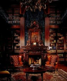 In home library is a must for me. This is a two-story library, with marble above the fireplace. Leather wing back chairs. Beautiful Library, Dream Library, Beautiful Homes, Grand Library, Future Library, Morgan Library, Fireplace Surrounds, Fireplace Design, Library Fireplace