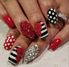 Notd ombre heart vday nails valentines day stripe polka dot red white black white crystals
