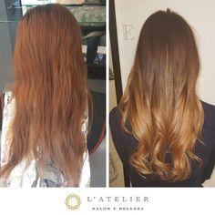 Antes&Después💕 Termina el año con un cabello radiante! Agenda tu cita al 36404799  By Vanessa www.latelier.mx #findyourstyle #latelier #haircolor #hairstyle #dyedhair #blonde #trendy #gdl