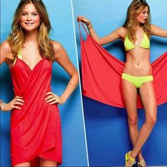 Wrap around cover up Red wrap around beach cover up. Soft and comfortable material. Absolutely perfect for a quick cover at the beach or pool! Swim Coverups