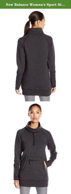 New Balance Women's Sport Style Tunic, Black Heather, Medium. What's better than fashionable comfort nothing. The New Balance sport style tunic takes a comfortable stance on style with a relaxed, oversized pullover made from a modal cotton blend for ultimate coziness. This pullover features an oversized Funnel neck with a silicone-dipped drawcord that won't fray and raglan sleeves with extended rib cuffs to the elbow. A hand warmer kangaroo pocket with additional zip closure stash pocket…