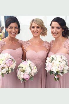 Stylish Jewel Cap Sleeves Floor-Length Pearl Pink Bridesmaid Dress Ruched with Appliques
