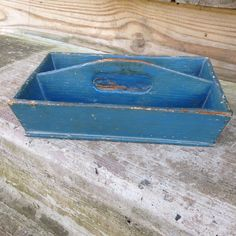 Antique Old Blue Paint Cutlery Tray Knife Tray Kitchen Collectible