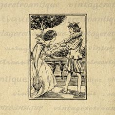 Prince and Princess Romance Printable Graphic Digital Image Download Vintage Clip Art. Printable digital illustration for printing, iron on transfers, tote bags, and many other uses. Personal or commercial use. This digital graphic is high quality, high resolution at 8½ x 11 inches. A Transparent background png version is included.