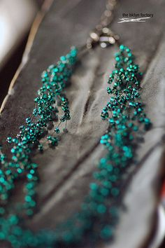 "No. 1021 - Dark Teal Turquoise Glass Beaded Hand Crocheted Layered Choker Necklace - 16"" - 18"" w/ silver sequin finish"