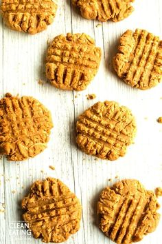 You're going to love this healthy snack cookie. These clean eating peanut butter biscuits are dairy free, wheat free and made with 6 whole food ingredients. Easy Clean Eating Recipes, Clean Eating Desserts, Peanut Butter Biscuits, Whole Food Recipes, Snack Recipes, Healthy Biscuits, Oat Cookies, Easy Meals For Kids, Healthy Treats