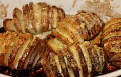 Cheesy, Garlicky Hasselback Potatoes with a Sweet Tomato Dipping Sauce