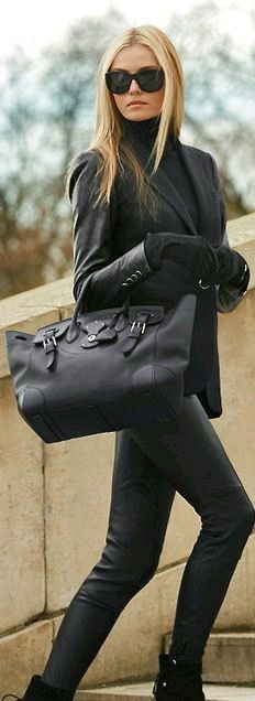 black mockneck, blazer, & leather skinnies