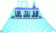 a2 it's a boy center pop-up card
