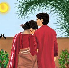 Cute Couple Drawings, Cute Couple Art, Anime Couples Drawings, Cute Photography, Couple Photography Poses, Bengali Art, Romantic Drawing, Animated Love Images, Romance Art
