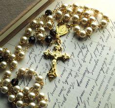 Ivory Pearl & Smoky Quartz Gold Rosary Beads  by TheAdornedArticle, $100.00