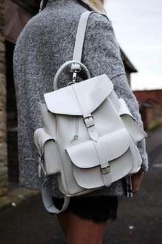 Grafea white leather rucksack, i love this colour but so nervous i would get it dirty.