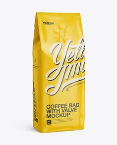 Glossy Coffee Bag With Valve Mockup - Half-Turned View. Preview