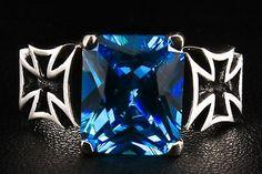 Sapphire Cross Sterling Silver Ring. Maltese iron cross with big princess cut sapphire.